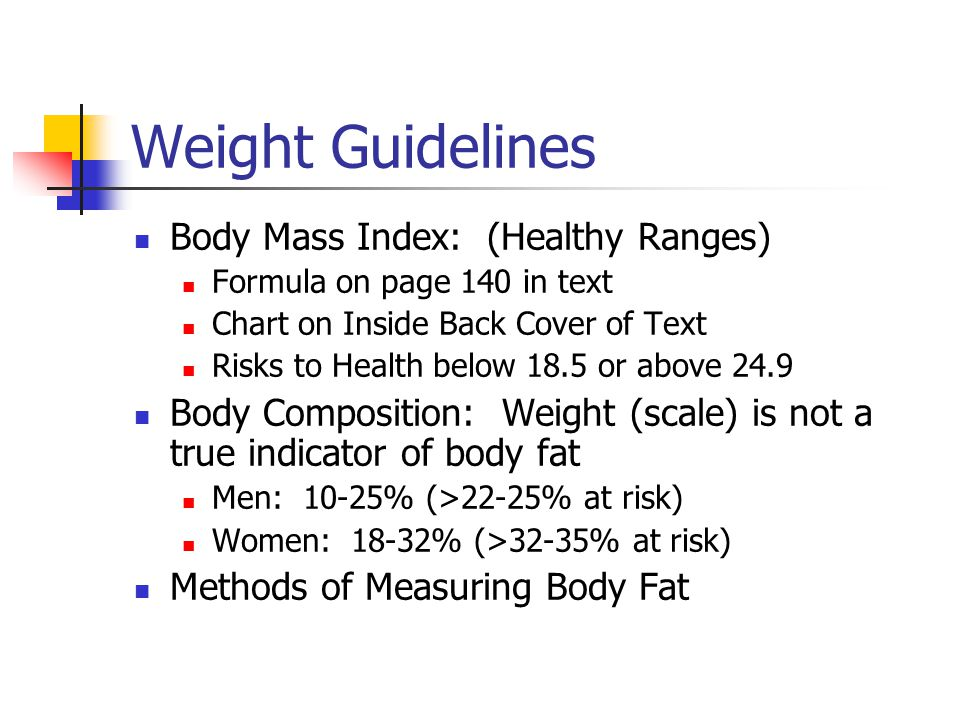Weight Guidelines Body Mass Index: (Healthy Ranges)
