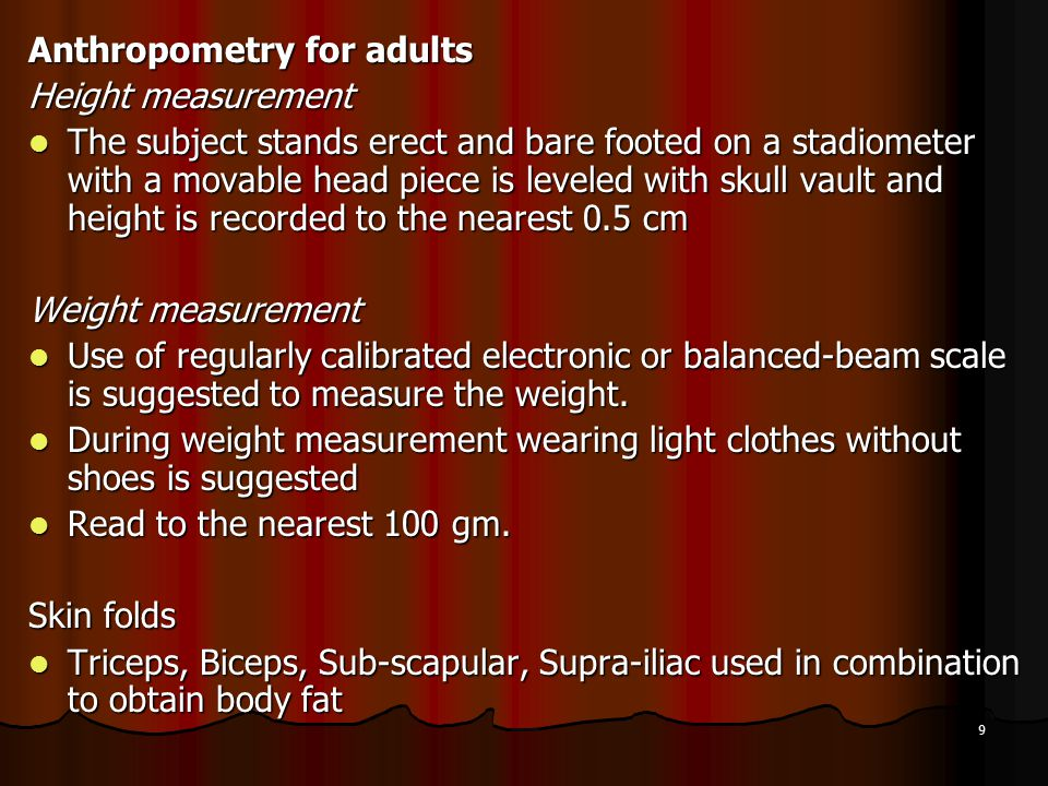 Anthropometry for adults