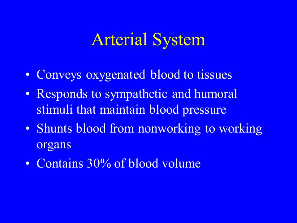 Arterial System Conveys oxygenated blood to tissues