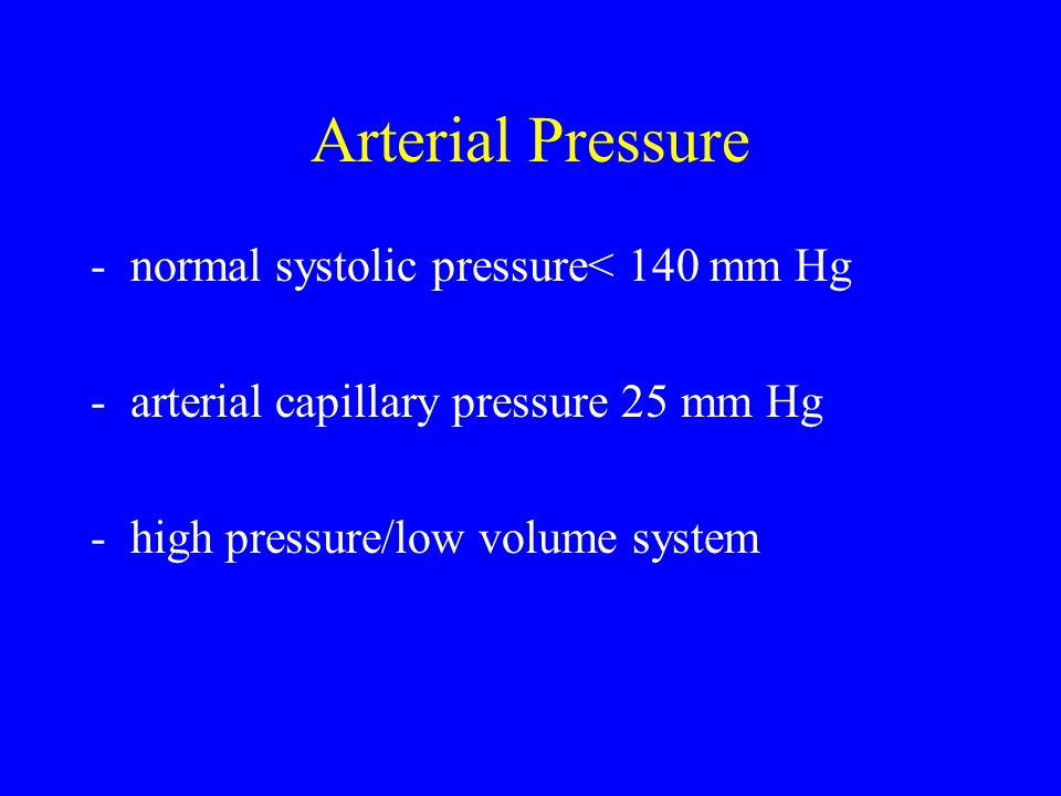 Arterial Pressure normal systolic pressure< 140 mm Hg