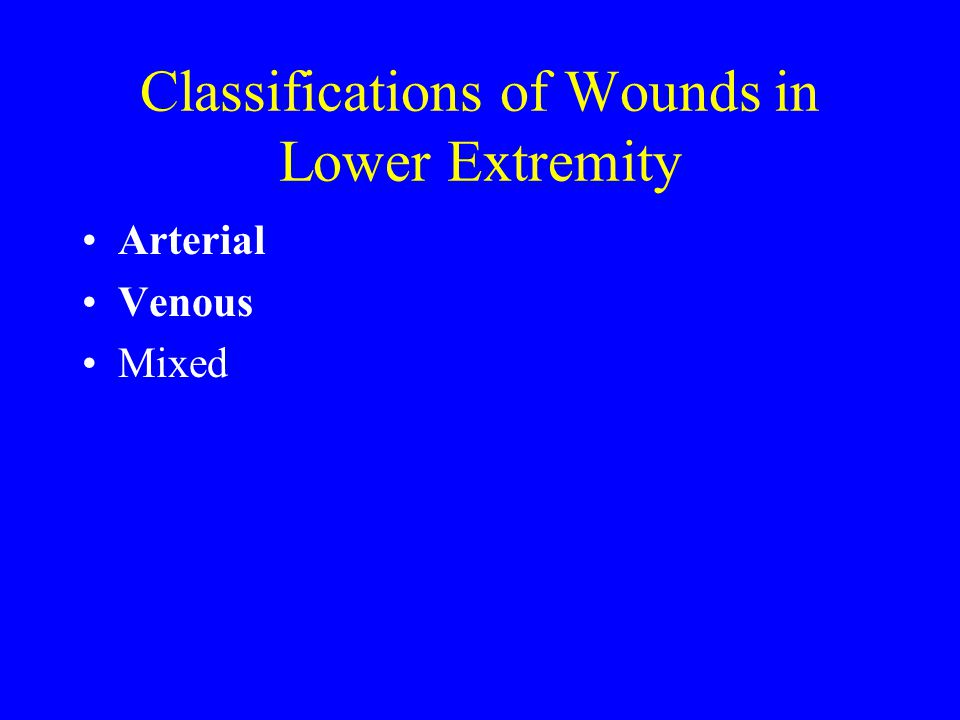 Classifications of Wounds in Lower Extremity