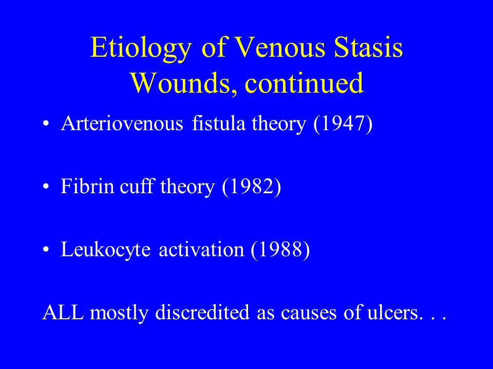 Etiology of Venous Stasis Wounds, continued