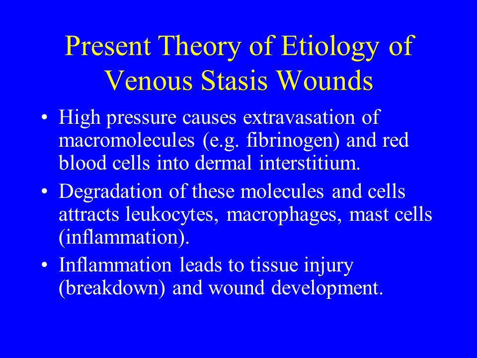 Present Theory of Etiology of Venous Stasis Wounds