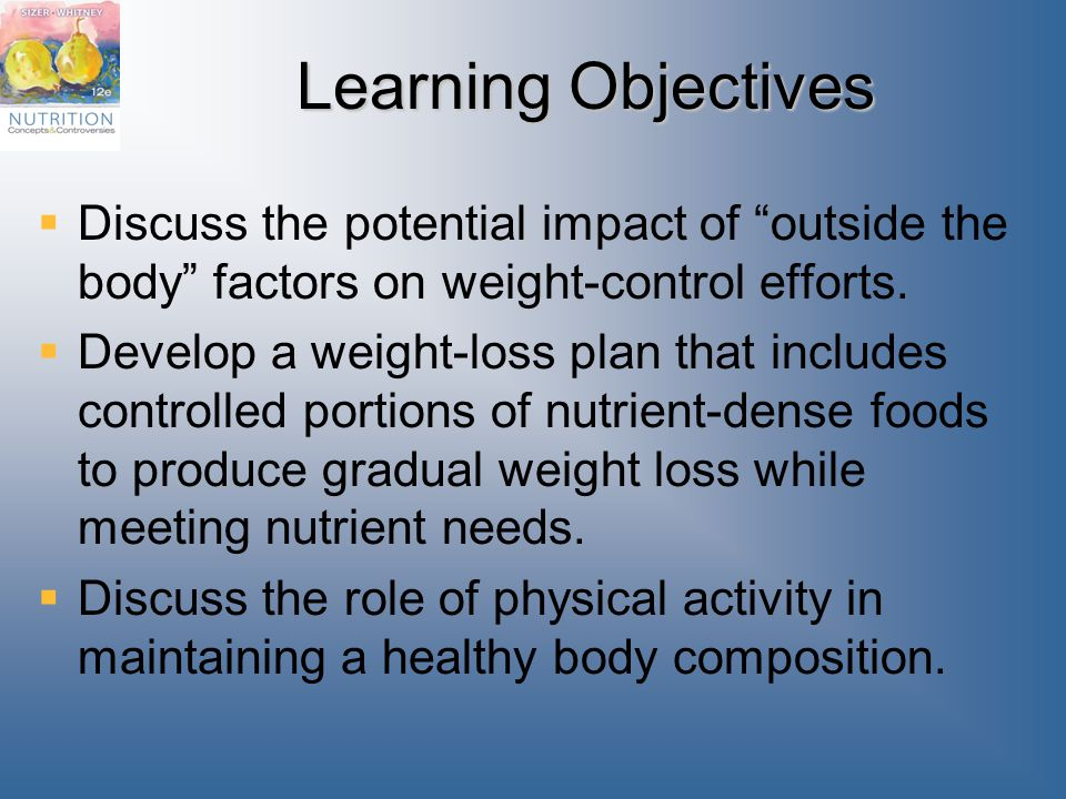 Learning Objectives Discuss the potential impact of outside the body factors on weight-control efforts.