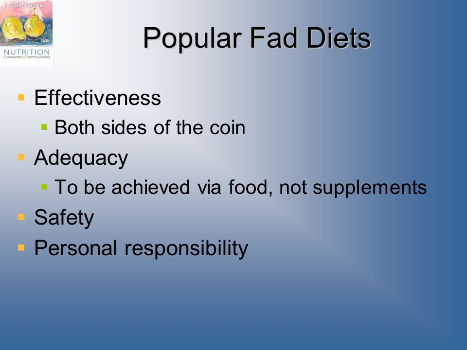 Popular Fad Diets Effectiveness Adequacy Safety