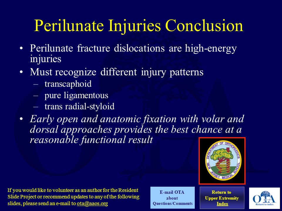 Perilunate Injuries Conclusion
