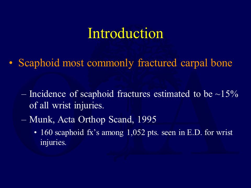 Introduction Scaphoid most commonly fractured carpal bone