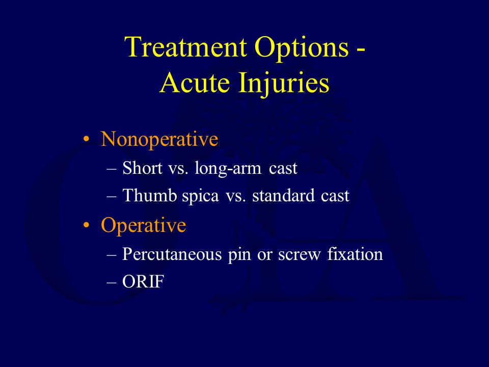 Treatment Options - Acute Injuries