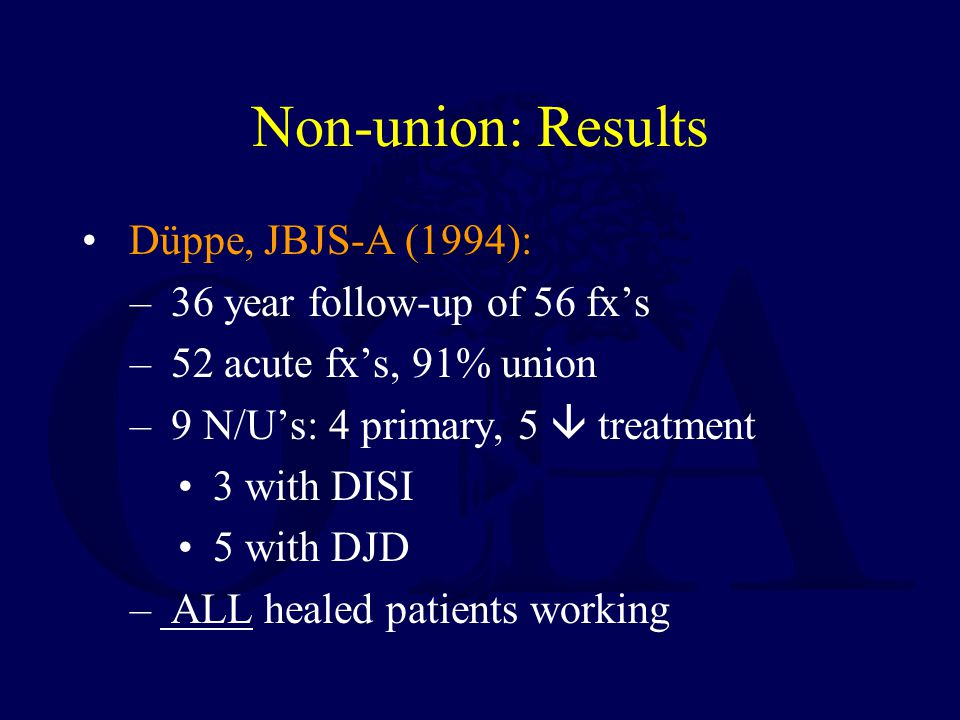 Non-union: Results Düppe, JBJS-A (1994): 36 year follow-up of 56 fx's