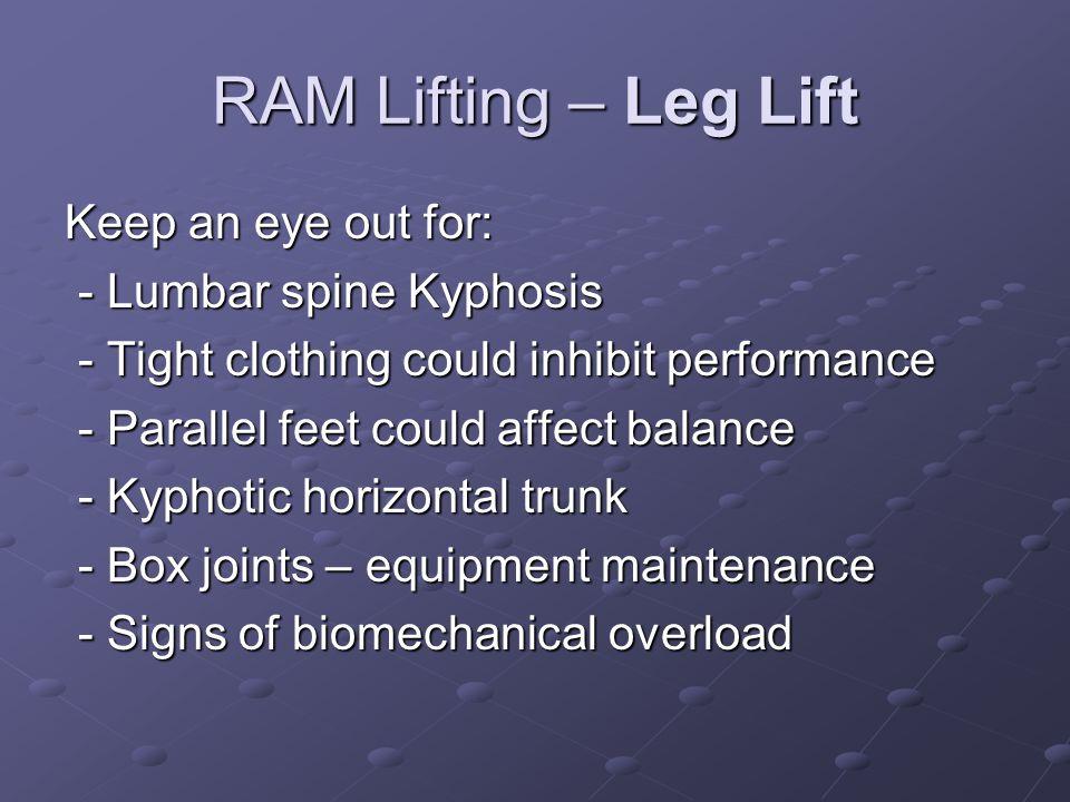 RAM Lifting – Leg Lift Keep an eye out for: - Lumbar spine Kyphosis