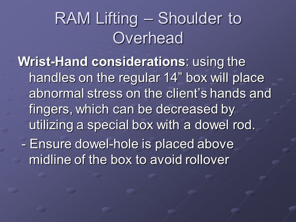 RAM Lifting – Shoulder to Overhead