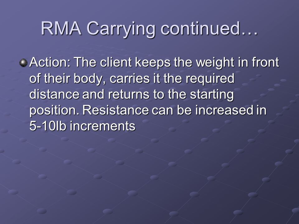 RMA Carrying continued…