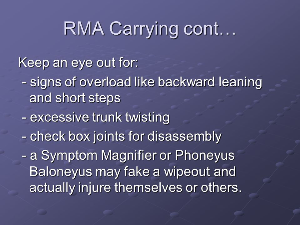 RMA Carrying cont… Keep an eye out for: