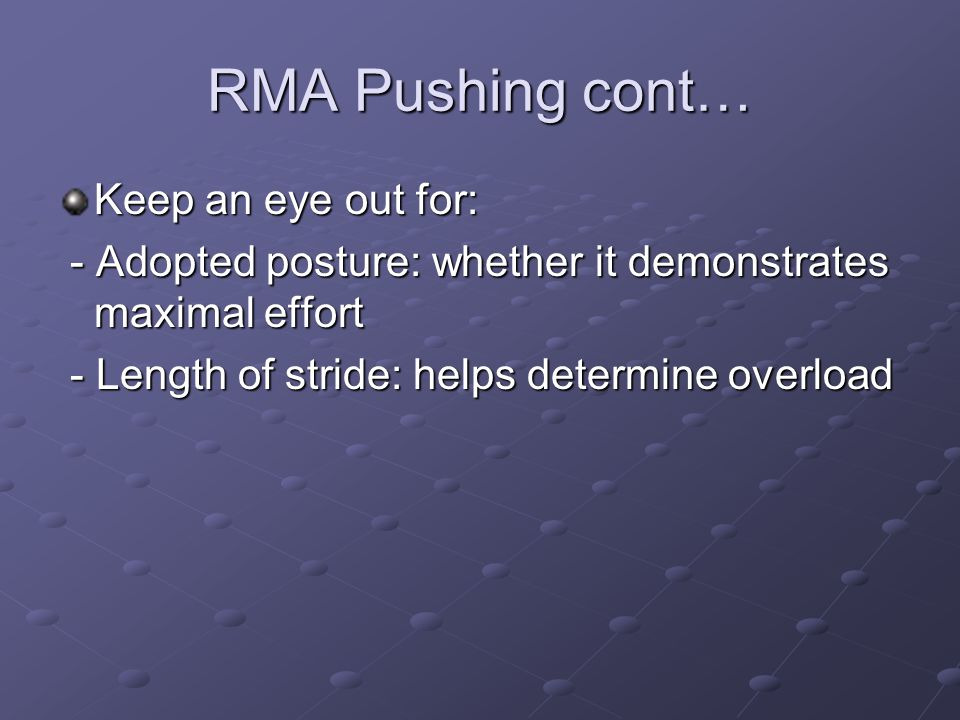 RMA Pushing cont… Keep an eye out for: