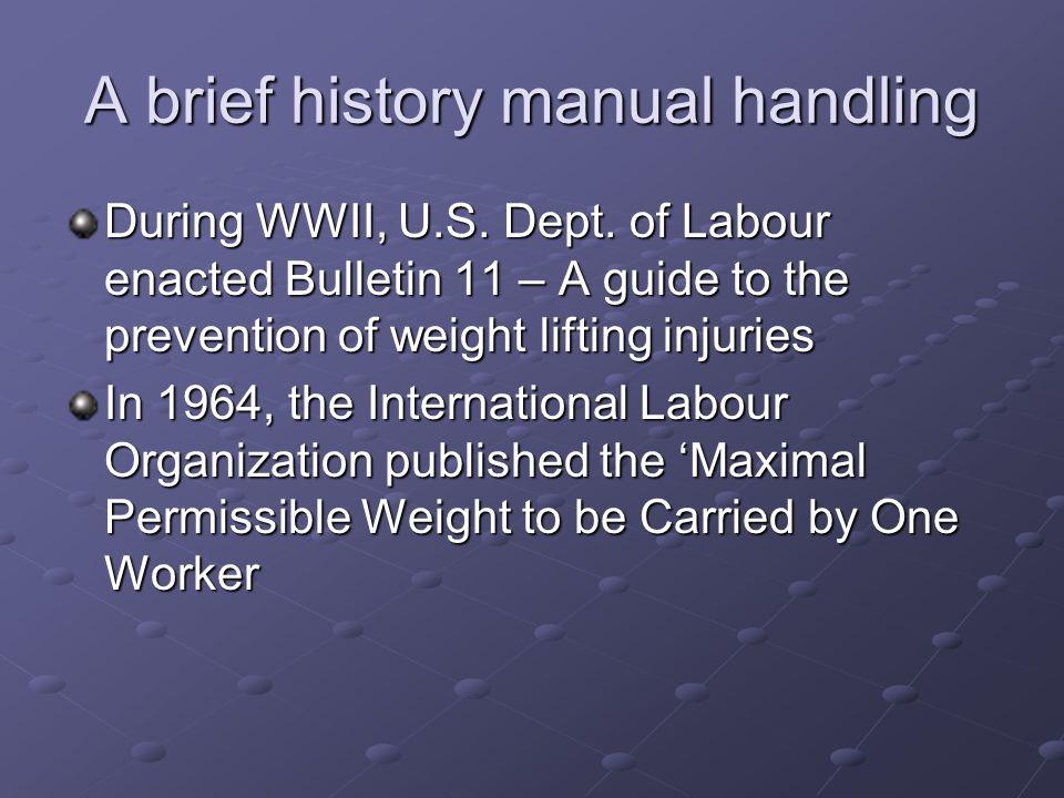 A brief history manual handling