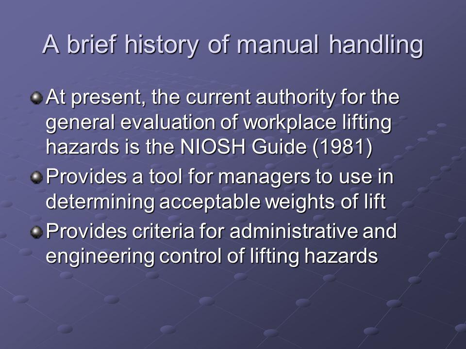 A brief history of manual handling