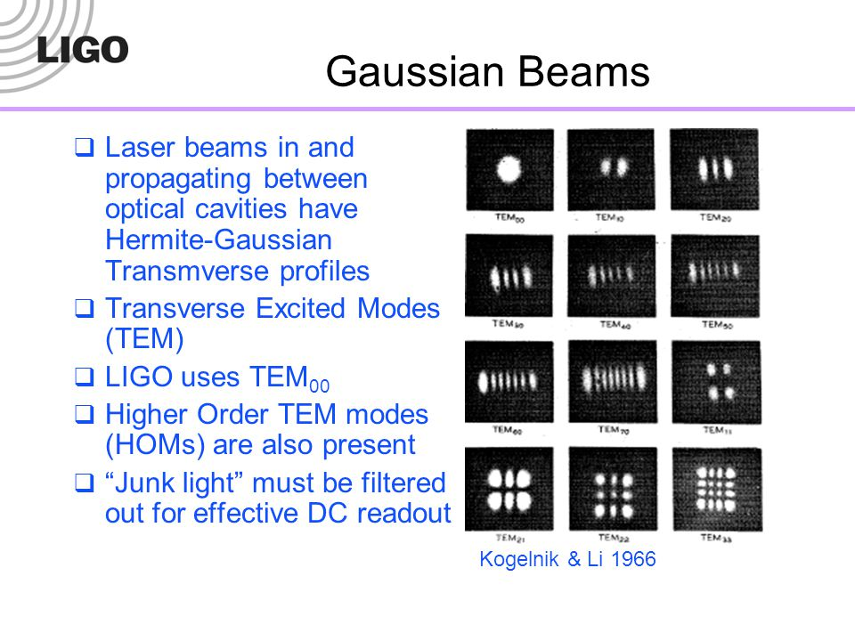 Gaussian Beams Laser beams in and propagating between optical cavities have Hermite-Gaussian Transmverse profiles.