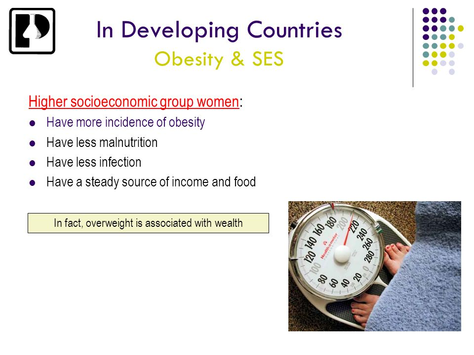 In Developing Countries Obesity & SES