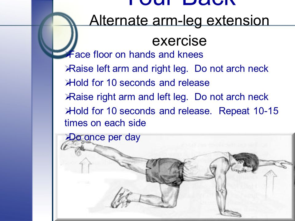 Exercises To Help Your Back Alternate arm-leg extension exercise