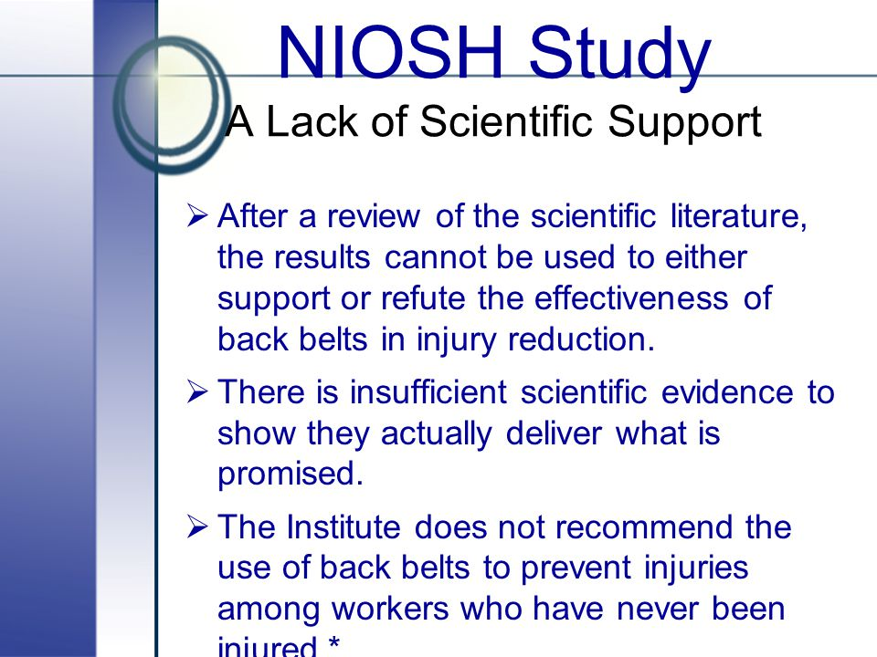 NIOSH Study A Lack of Scientific Support