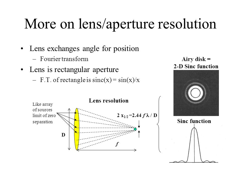 More on lens/aperture resolution
