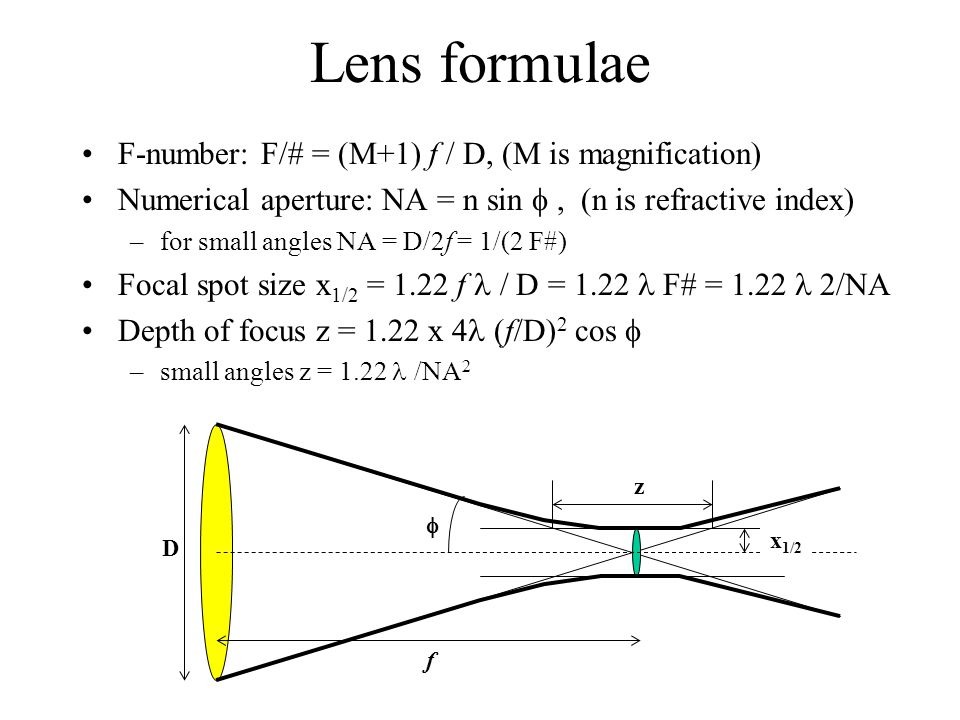 Lens formulae F-number: F/# = (M+1) f / D, (M is magnification)
