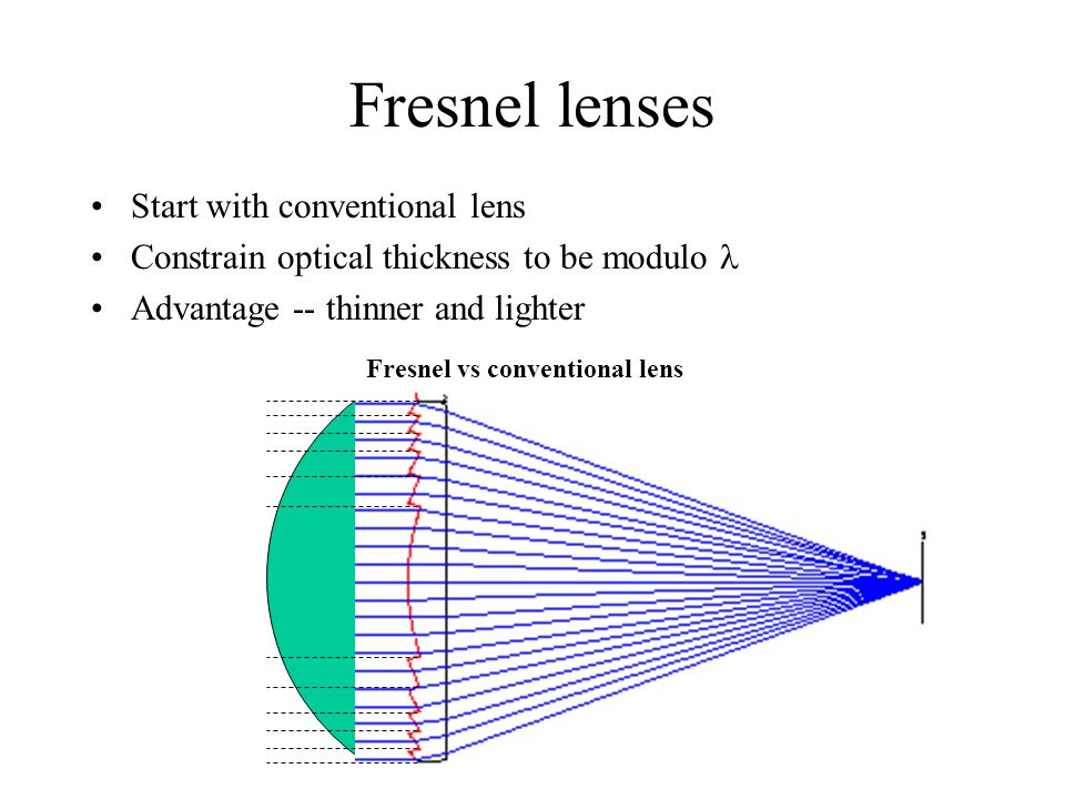 Fresnel lenses Start with conventional lens