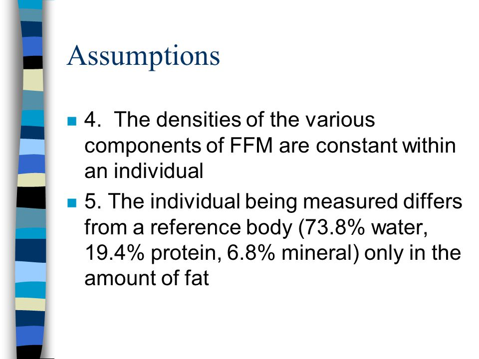 Assumptions 4. The densities of the various components of FFM are constant within an individual.