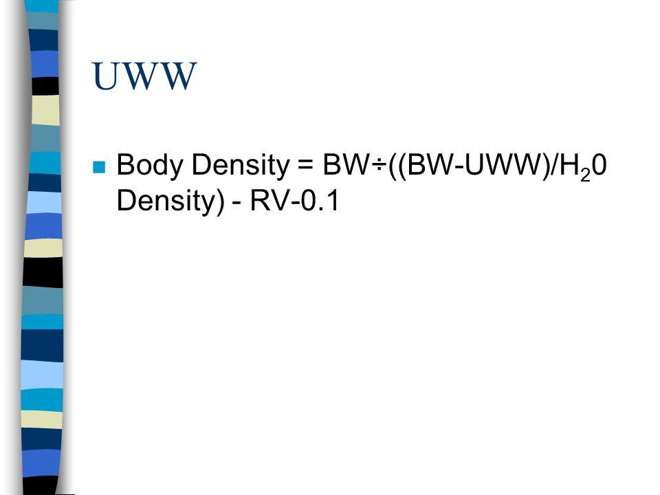 UWW Body Density = BW÷((BW-UWW)/H20 Density) - RV-0.1