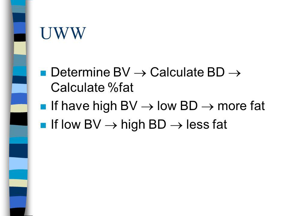 UWW Determine BV  Calculate BD  Calculate %fat
