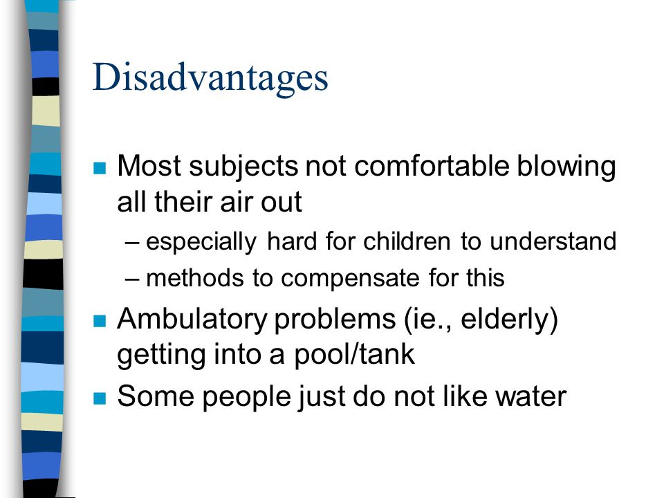 Disadvantages Most subjects not comfortable blowing all their air out