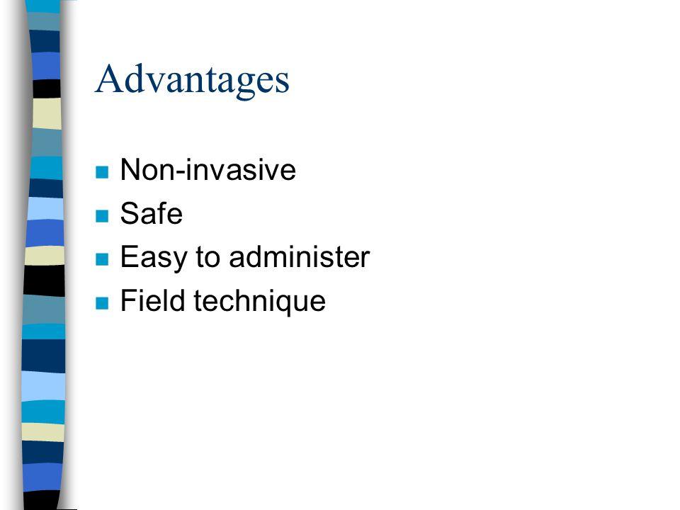 Advantages Non-invasive Safe Easy to administer Field technique