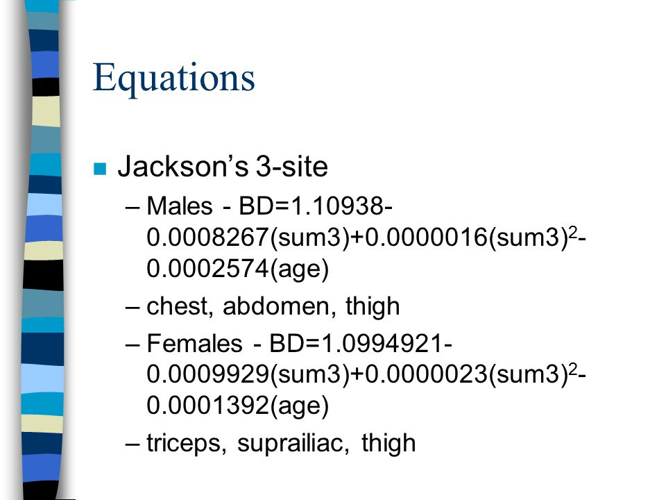 Equations Jackson's 3-site