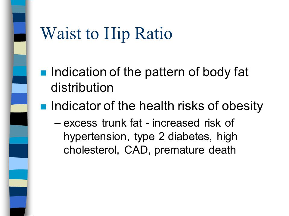 Waist to Hip Ratio Indication of the pattern of body fat distribution