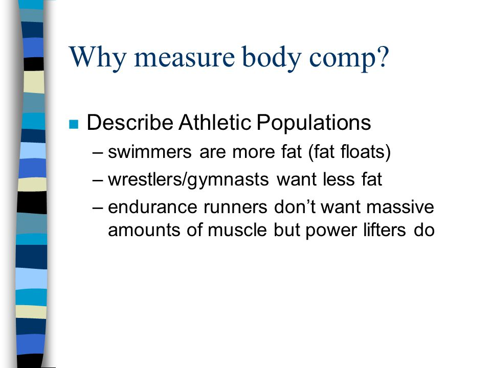 Why measure body comp Describe Athletic Populations