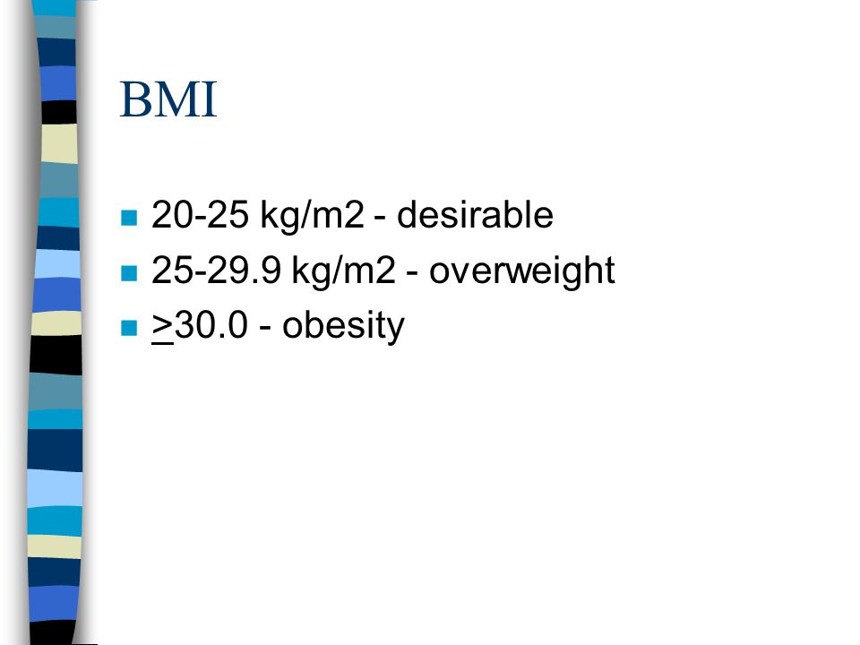 BMI 20-25 kg/m2 - desirable 25-29.9 kg/m2 - overweight