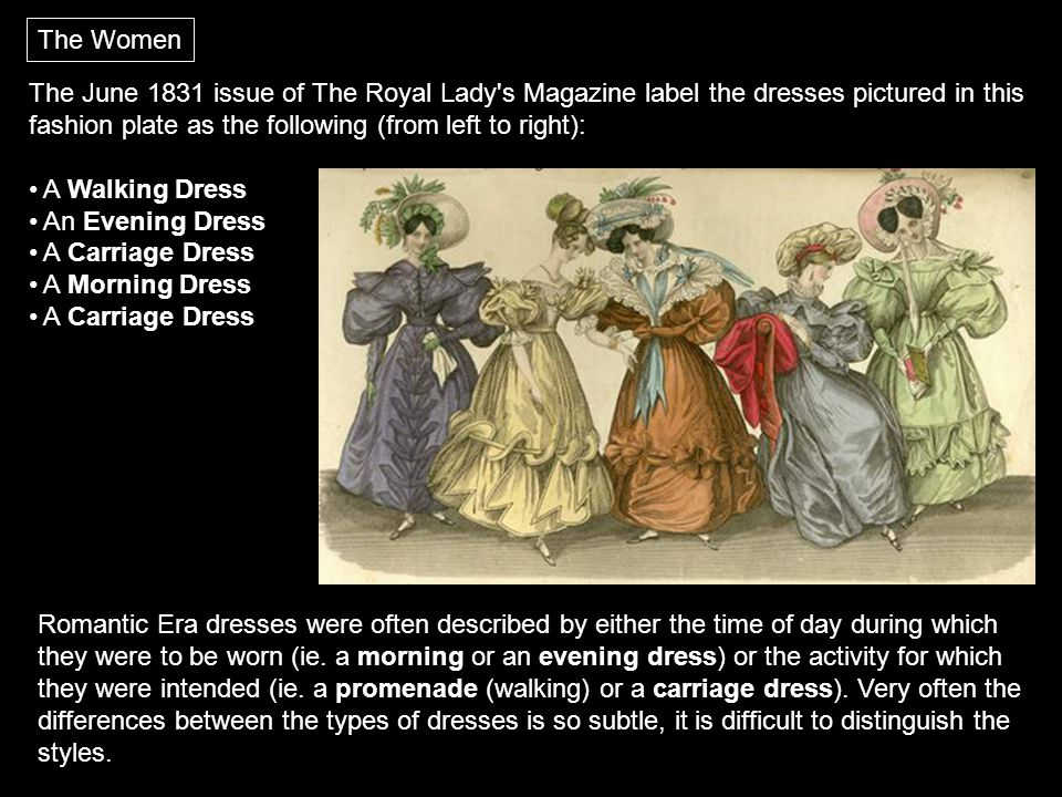 The Women The June 1831 issue of The Royal Lady s Magazine label the dresses pictured in this fashion plate as the following (from left to right):