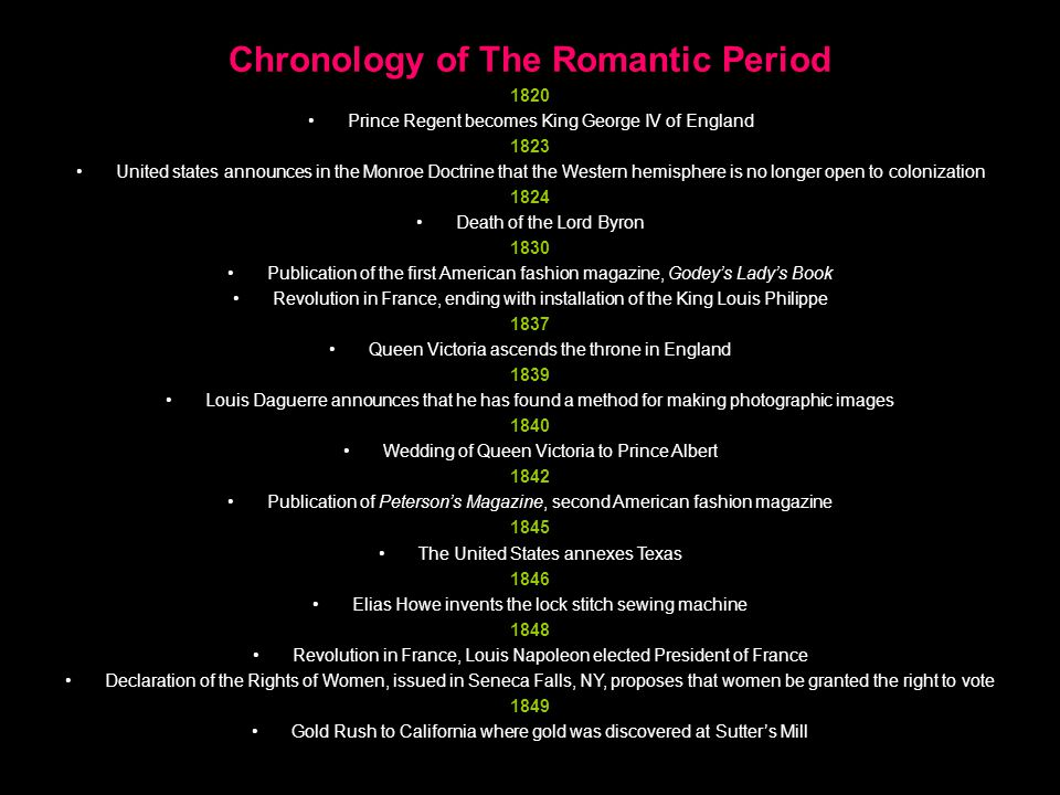 Chronology of The Romantic Period