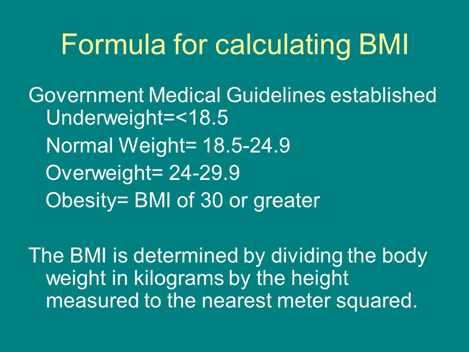 Formula for calculating BMI