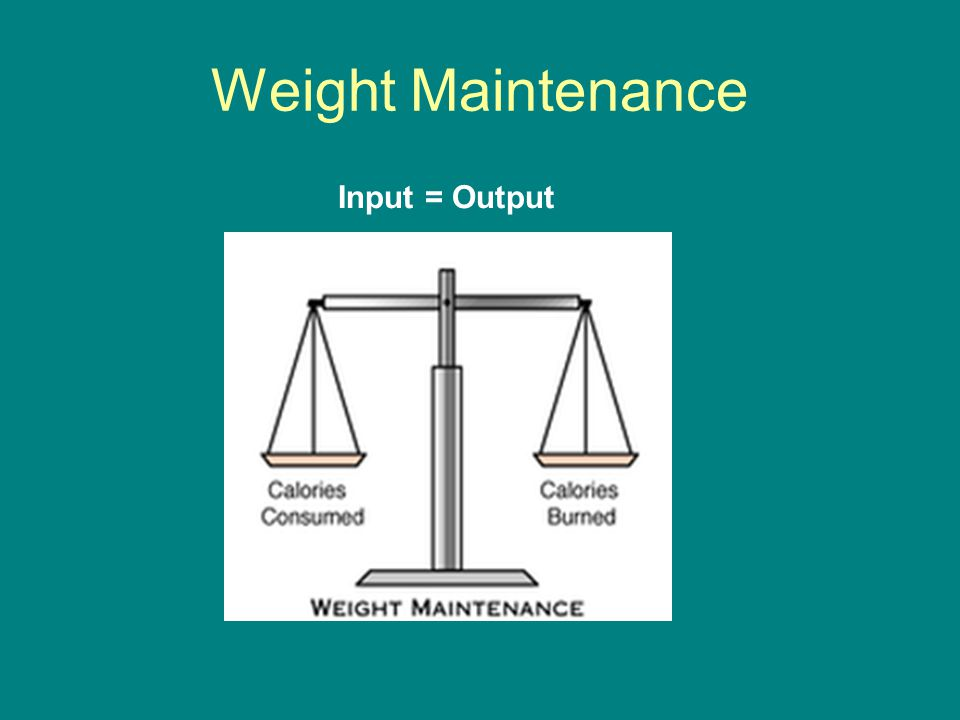 Weight Maintenance Input = Output