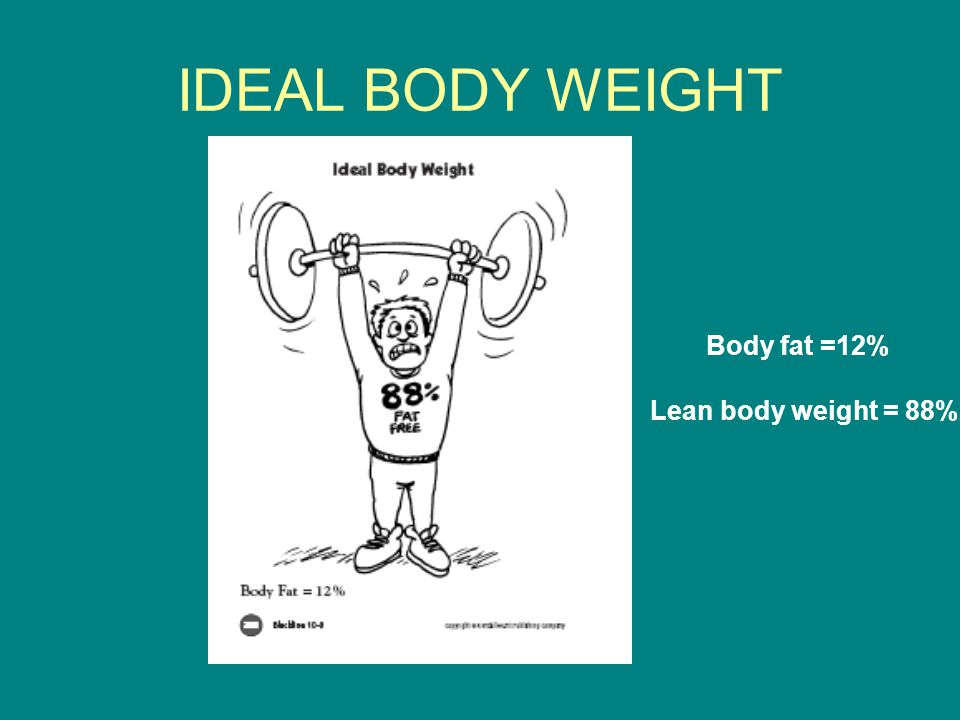IDEAL BODY WEIGHT Body fat =12% Lean body weight = 88%