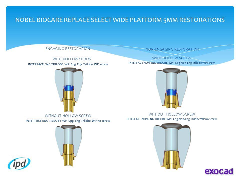 NOBEL BIOCARE REPLACE SELECT WIDE PLATFORM 5MM RESTORATIONS