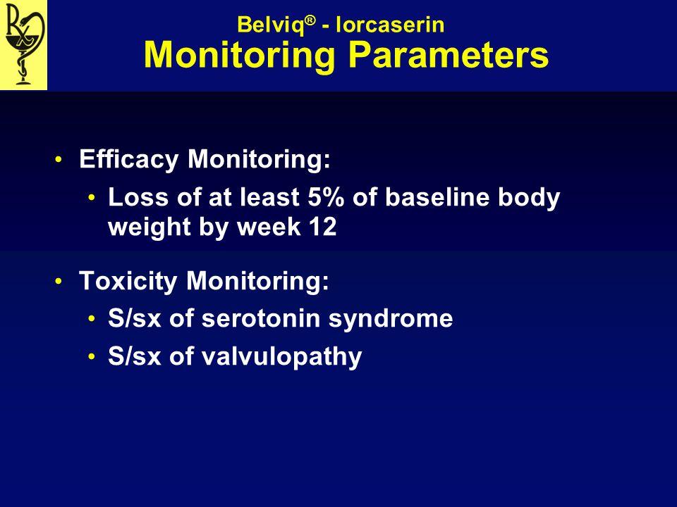 Belviq® - lorcaserin Monitoring Parameters