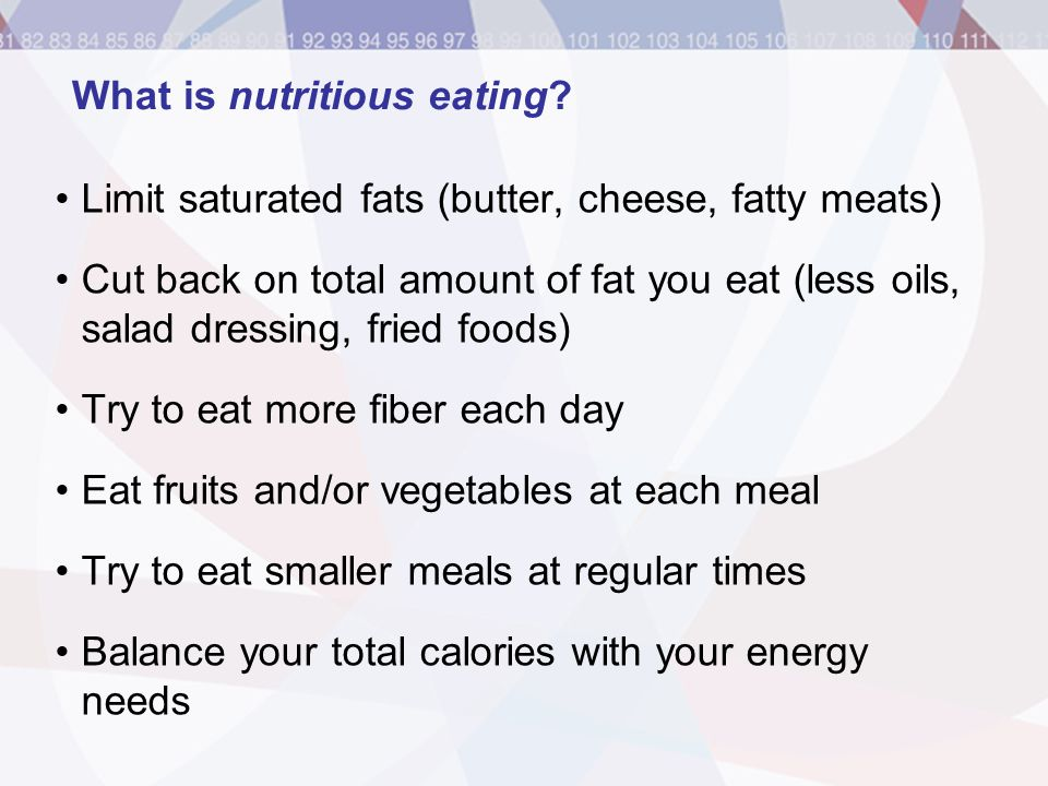 What is nutritious eating
