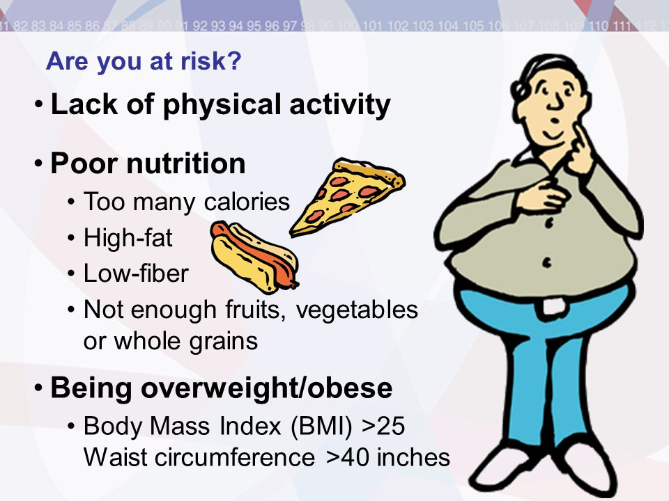 Being overweight/obese Lack of physical activity