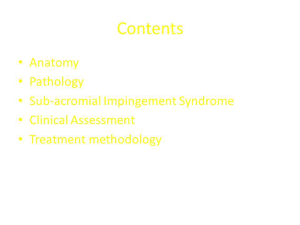 Contents Anatomy Pathology Sub-acromial Impingement Syndrome