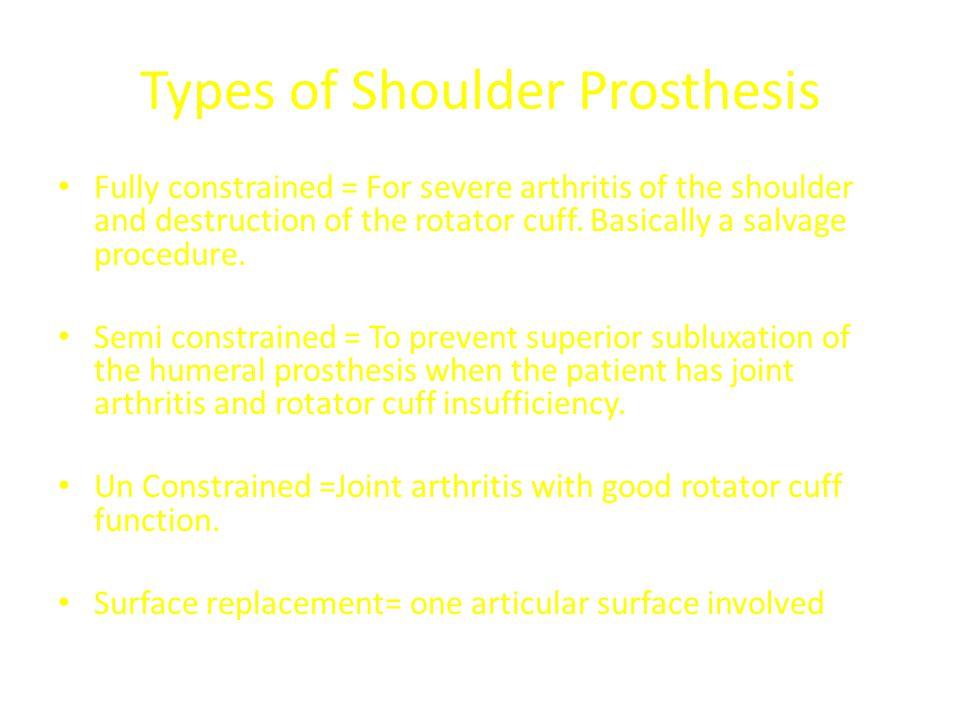 Types of Shoulder Prosthesis