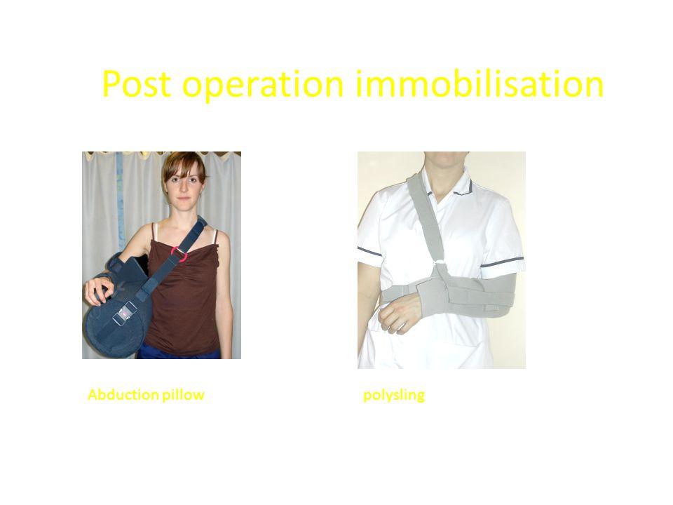 Post operation immobilisation