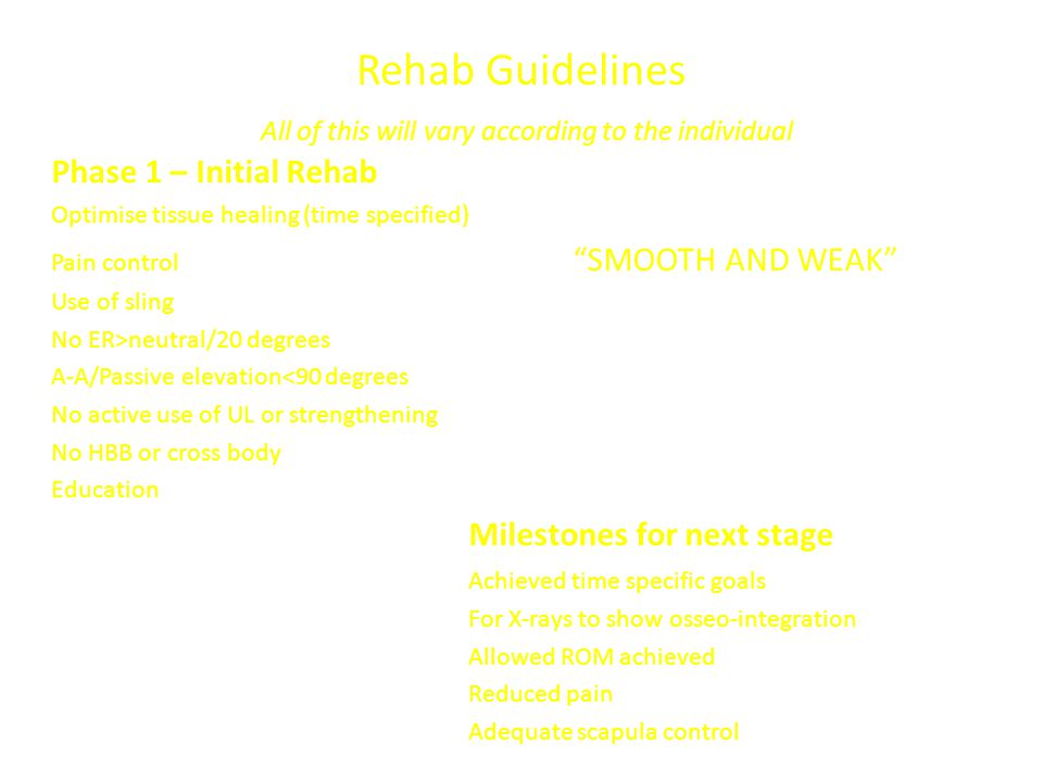 Rehab Guidelines All of this will vary according to the individual