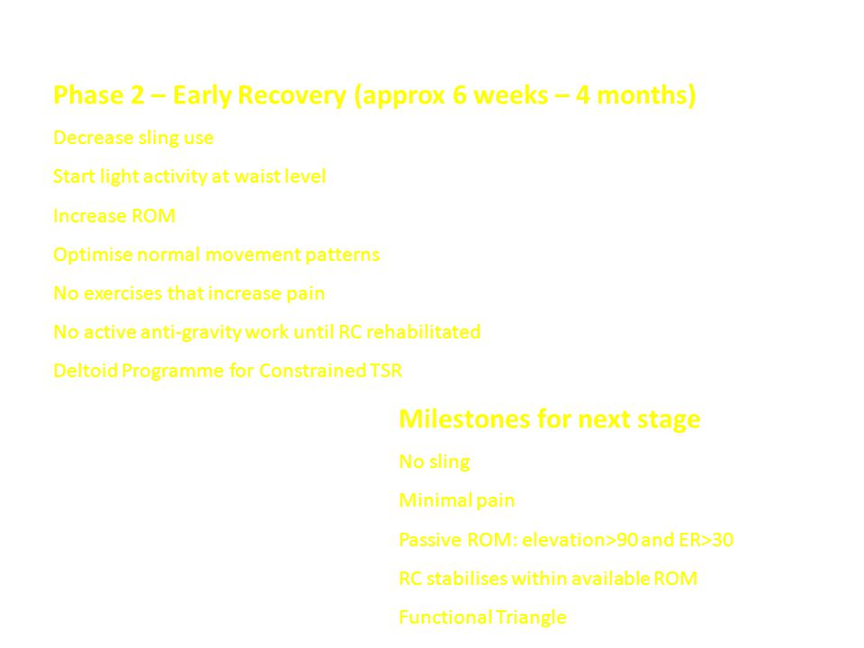 Phase 2 – Early Recovery (approx 6 weeks – 4 months)